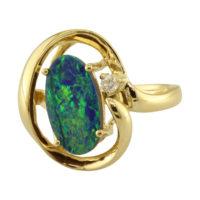 14KYG Australian Opal Ring with Diamonds