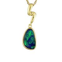 14KYG Australian Opal Doublet Pendant