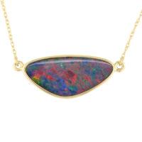 14KYG Opal Doublet Pendant