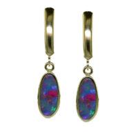 14KYG Australian Opal Doublet Earrings