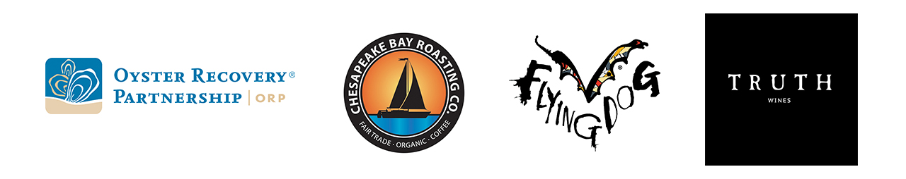 Oyster recovery partnership logo Chesapeake bay roasting logo flying dog logo and truth wines logo