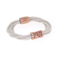 Luca Au Silk Collection Fancy Cage Weave bracelet with white sapphires