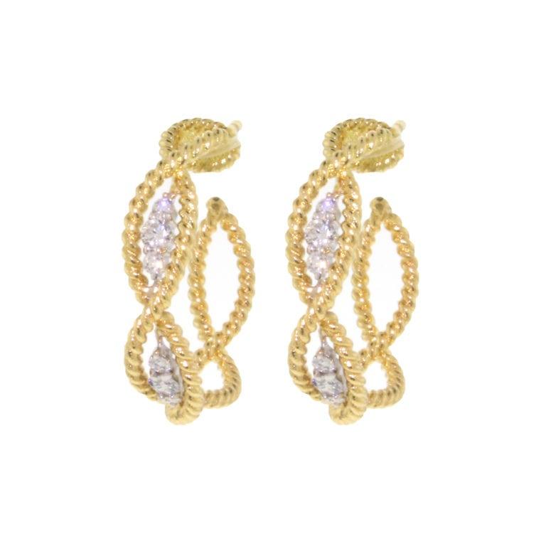 18k Yellow Gold Diamond Barocco Earrings