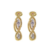 18k Yellow Gold Barocco Diamond Earrings