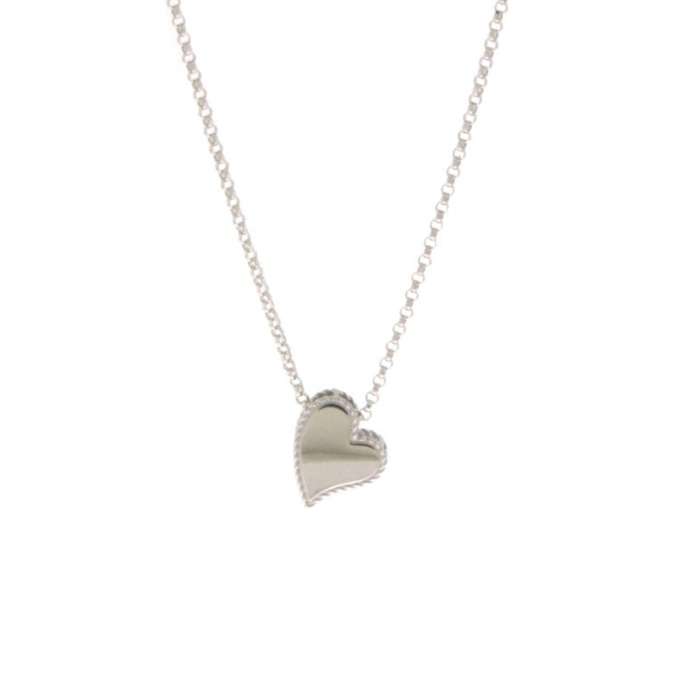 18k White Gold Princess Heart Necklace
