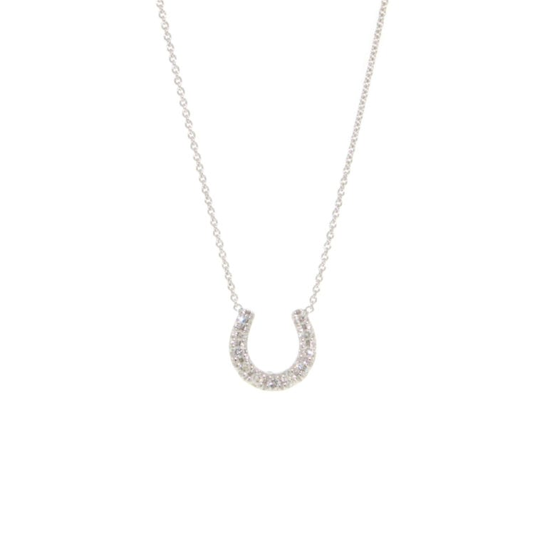 18k White Gold Horseshoe Necklace with Diamonds