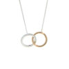 18k Rose and White Gold Diamond Entwined Circles Pendant Necklace