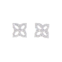 18k White Gold Princess Flower Earrings with Diamonds