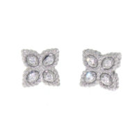 18k White Diamond Princess Flower Earring