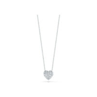 18k White Gold Diamond Puffed Heart Necklace