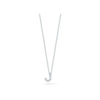 18k White Gold Letter J Diamond Necklace