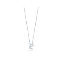 18k White Gold Letter E Diamond Necklace