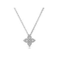 18k White Gold Diamond Princess Flower Pendant with Chain