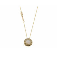 18k Yellow Gold Pois Moi Round Mother of Pearl Pendant