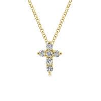 14k Yellow Gold Cross Diamond Necklace