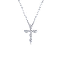 14k White Gold Cross Diamond Necklace
