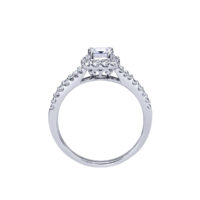 14k White Gold Princess Cut Halo Diamond Engagement Ring