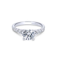 14k White Gold Round Straight Reed Engagement Ring, Dia 0.5ctw