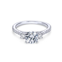 14k White Gold Round 3 Stones Diamond Engagement Ring