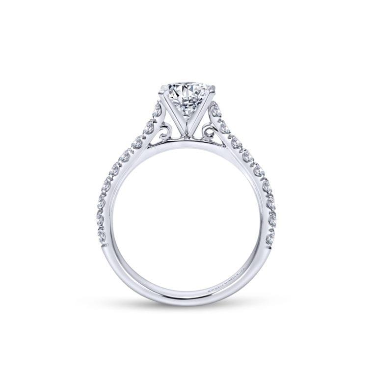 14k White Gold Diamond Engagement Semi-Ring Mount