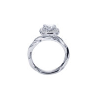 Vintage 14k White Gold Round Halo Diamond Engagement Ring