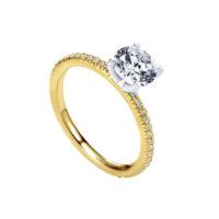 14k Yellow Gold Round Straight Diamond Engagement Ring