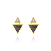 14k Yellow Gold Stud Diamond Black Mother of Pearl Earrings