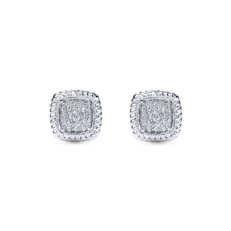 14k White Gold Stud Diamond Earrings