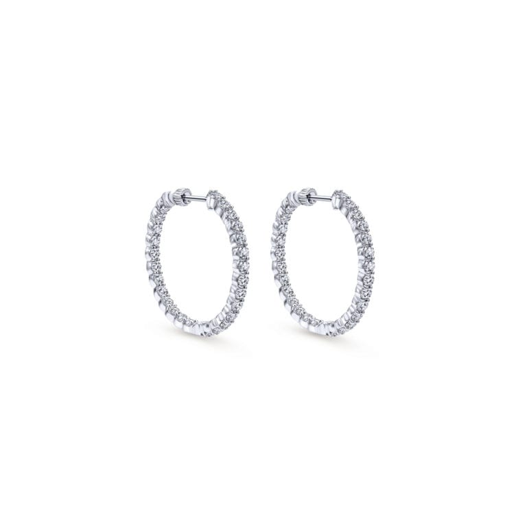 14k White Gold 30MM Classic Hoop Diamond Earrings