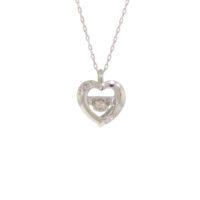 18k White Gold Dancing Diamond Pendant/ Chain