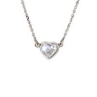 14k White Gold Heart Style Diamond Pendant