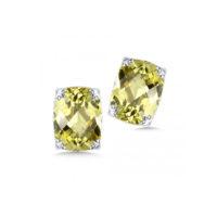Sterling Silver Green Gold Quartz Stud Earrings