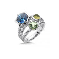 London Blue Topaz, Green Amethyst, Olive Green Quartz Stack Ring In Sterling Silver