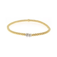 Fope 18k Yellow Gold Flex' It Prima link Bracelet with Diamonds