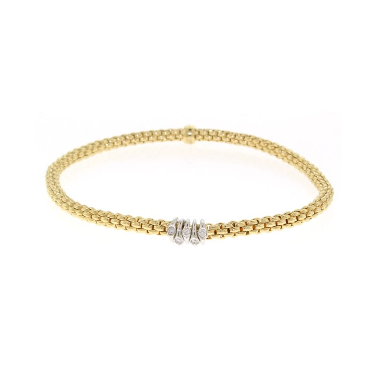 Fope 18k Yellow Gold Flex' It Prima link Bracelet with Diamonds