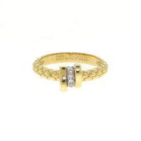 Fope 18k Yellow Gold Flex' It Prima Ring with Diamonds
