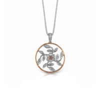 Simon G Diamond Rose and White Gold Pendant