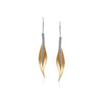 Simon G 2 Tone Leaf Earrings
