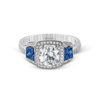 Simon G Diamond and Sapphire Semi-Mount Ring