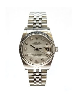 Rolex Ladies Datejust Steel and 18 Karat Gold 69174 Mother-of-Pearl Diamond Dial