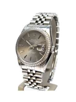 Rolex Datejust Grey Silver Tapestry Dial Steel Mens Watch 16220