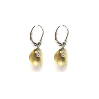 14k Gold and Diamond Fashion Earrings Side View