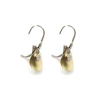 14k Gold and Diamond Fashion Earrings Side View Open Backs