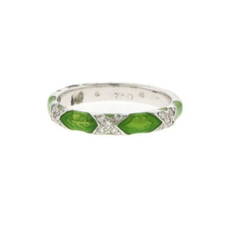 18k Lime Green Ring with Diamonds