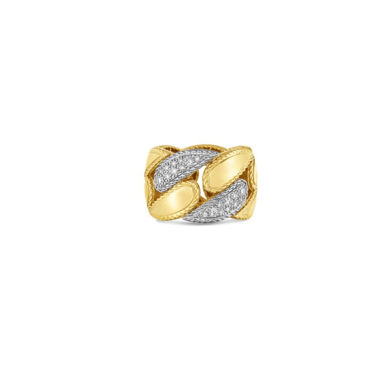 Roberto Coin 18k Yellow Gold Gourmette Link Ring with Diamonds