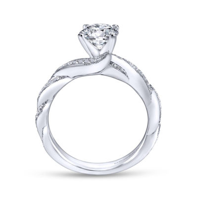Cassidy 14K White Gold Round Twisted Diamond Engagement Ring