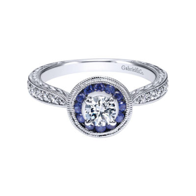Jonas Vintage 14K White Gold Round Halo Sapphire and Diamond Engagement Ring