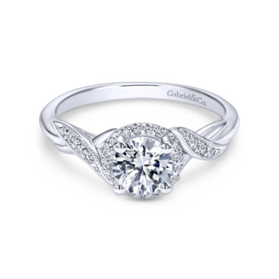 Shae 14K White Gold Round Halo Diamond Engagement Ring