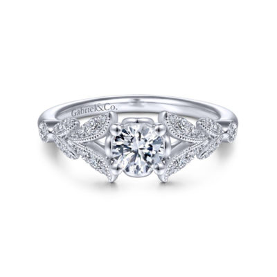 Bryce Vintage 14K White Gold Split Shank Round Diamond Engagement Ring