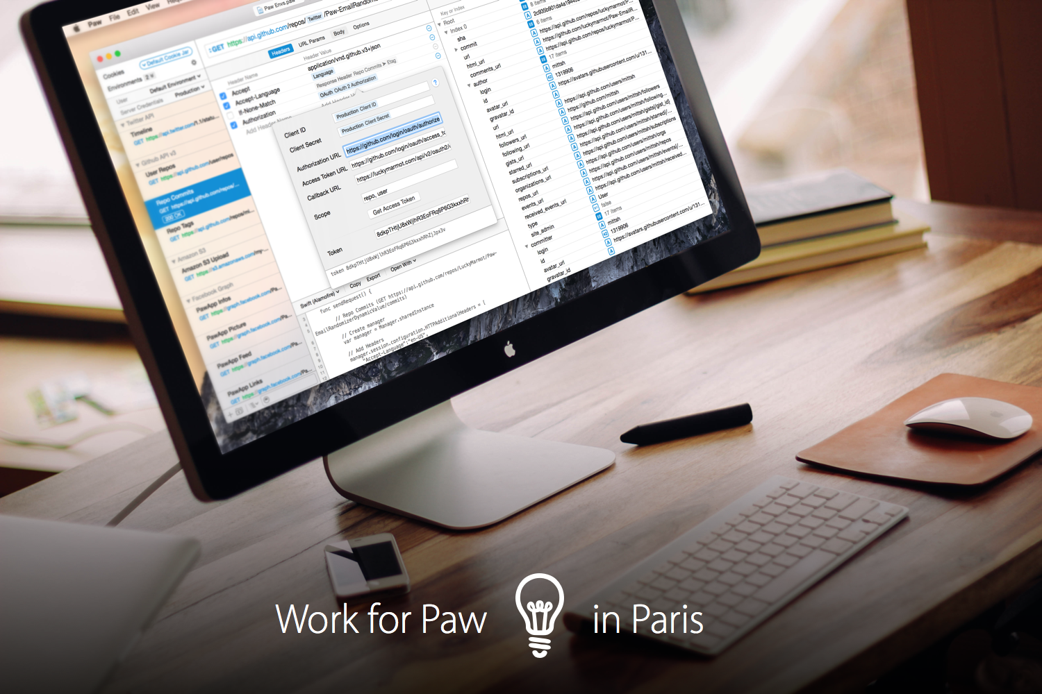 Come change the way we all develop web APIs. Work for Paw, in Paris.